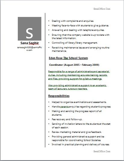 Resume For School Coordinator Professional