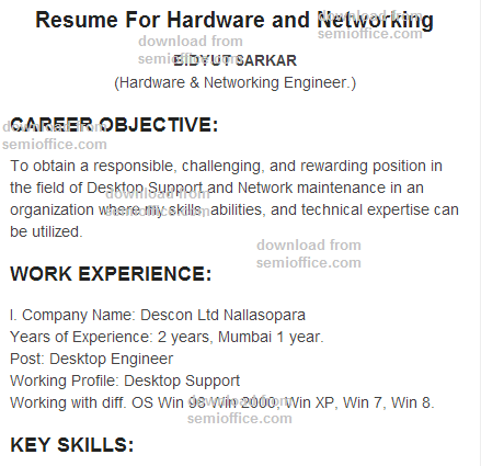 Resume_For_Hardware_and_Networking_Engineer Technical Support Engineer Resume Format on job description, ms word, supervisory skills, analyst sample, written summary, representative sample, templates for, sample jda,