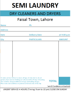 Laundry Bill Format in Excel