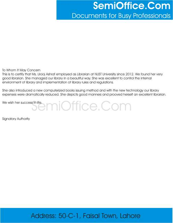 Experience Letter for Librarian Free Download