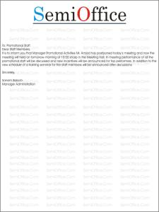 Postponed Meeting Letter Samples
