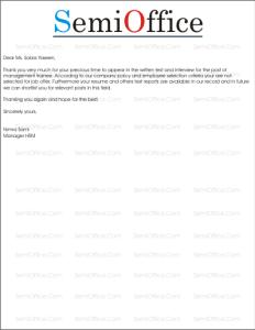 Rejection Letter Sample for Job Applicant