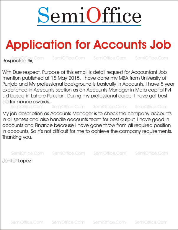 Job Application For Accountant Positions