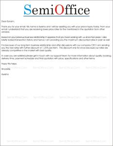 sample quotation letter format