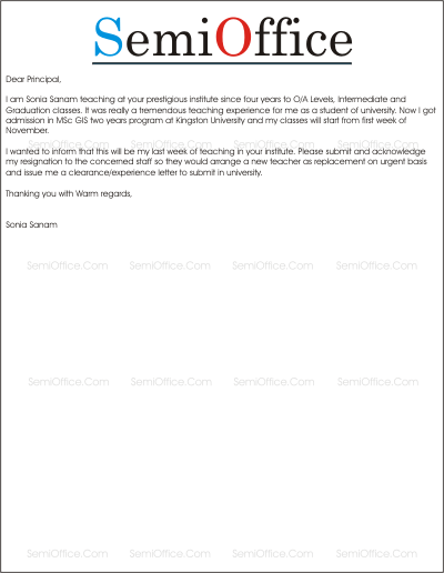 teaching resignation letter