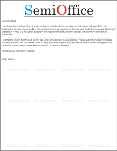 Sample Resignation Letter for Teachers