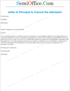 Application for Cancellation of Admission
