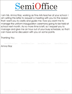Letter Requesting Meeting with Principal