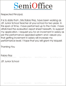 Request for Salary Increment by Teacher in School