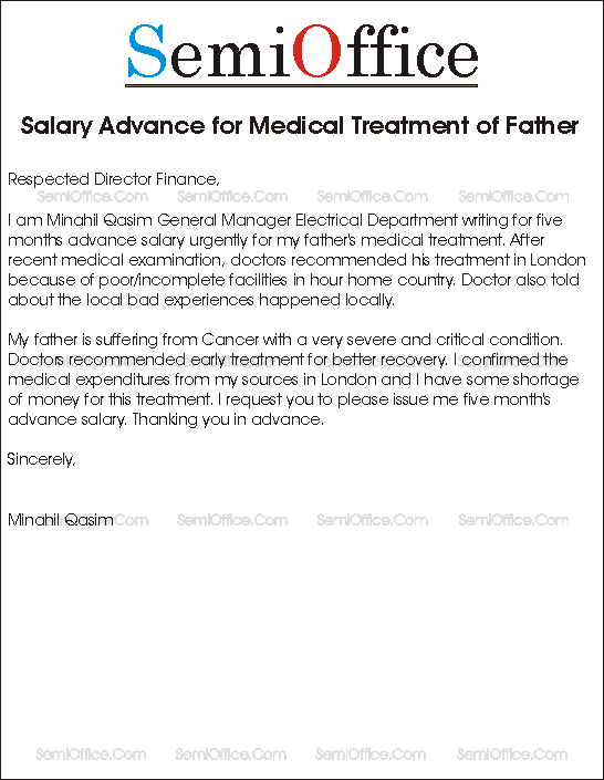 Salary Advance for Medical Treatment Sample Application