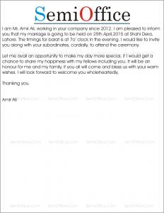Marriage Invitation Letter Sle