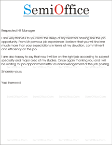 Thank you letter for job offer acceptance