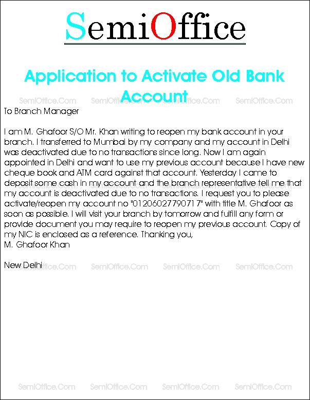 bank account activation application format