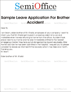 Leave Application for Brother Accident