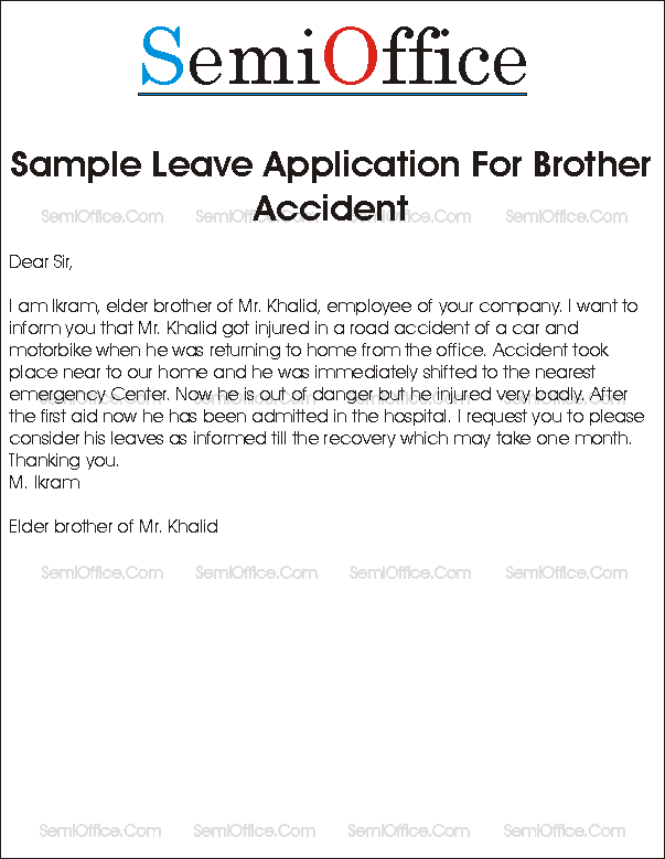 Sample leave application for brother accident leave application for accident of brother spiritdancerdesigns Images