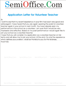 Application Letter for Volunteer Teacher