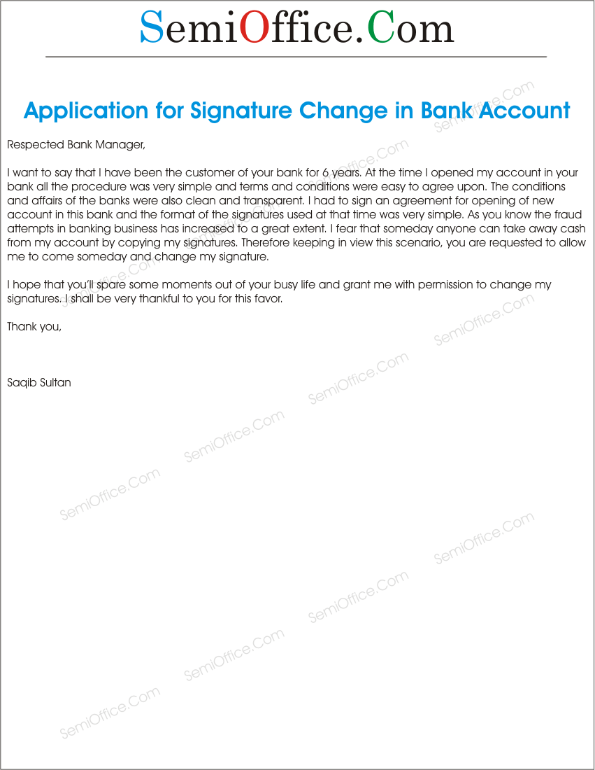 How to write a letter for change of bank account gallery letter application to bank in order to change the signatures sample letter to change signatures on bank spiritdancerdesigns Choice Image