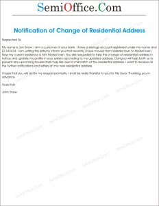 Change of Residential Address Letter Sample
