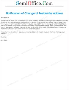 Change of Residential Address Letter Sample