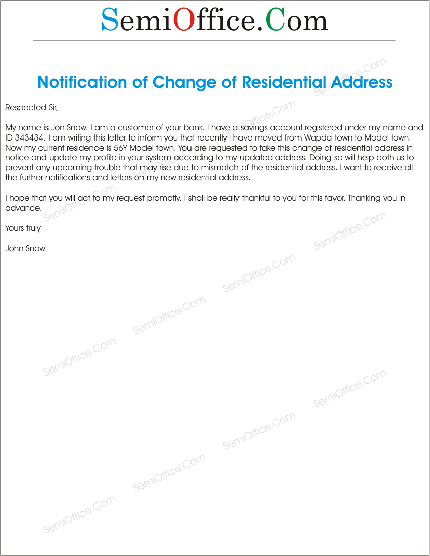 change of residential address letter