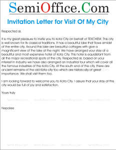 Invitation Letter for Visit Of My City
