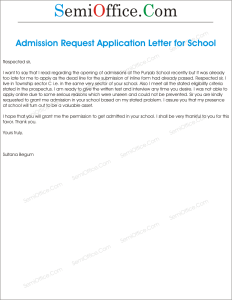 Letter To Principal Requesting For Admission