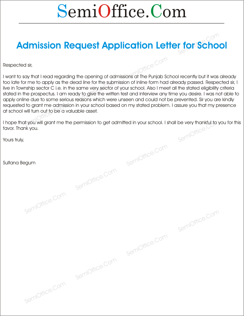 How to write application for admission in school