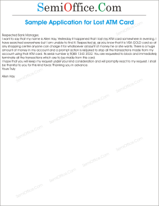 Letter to Inform Bank For Lost ATM Card or Credit Card For Bank