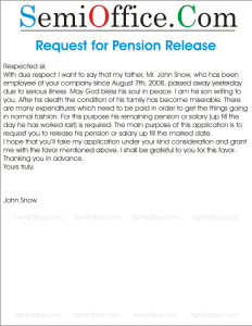 Request Letter for Pension Release