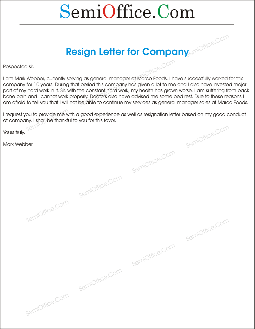 Resignation Letter To A Company