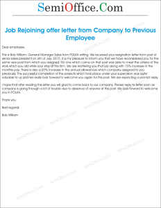 Sample Job Rejoining offer letter for Old Employee