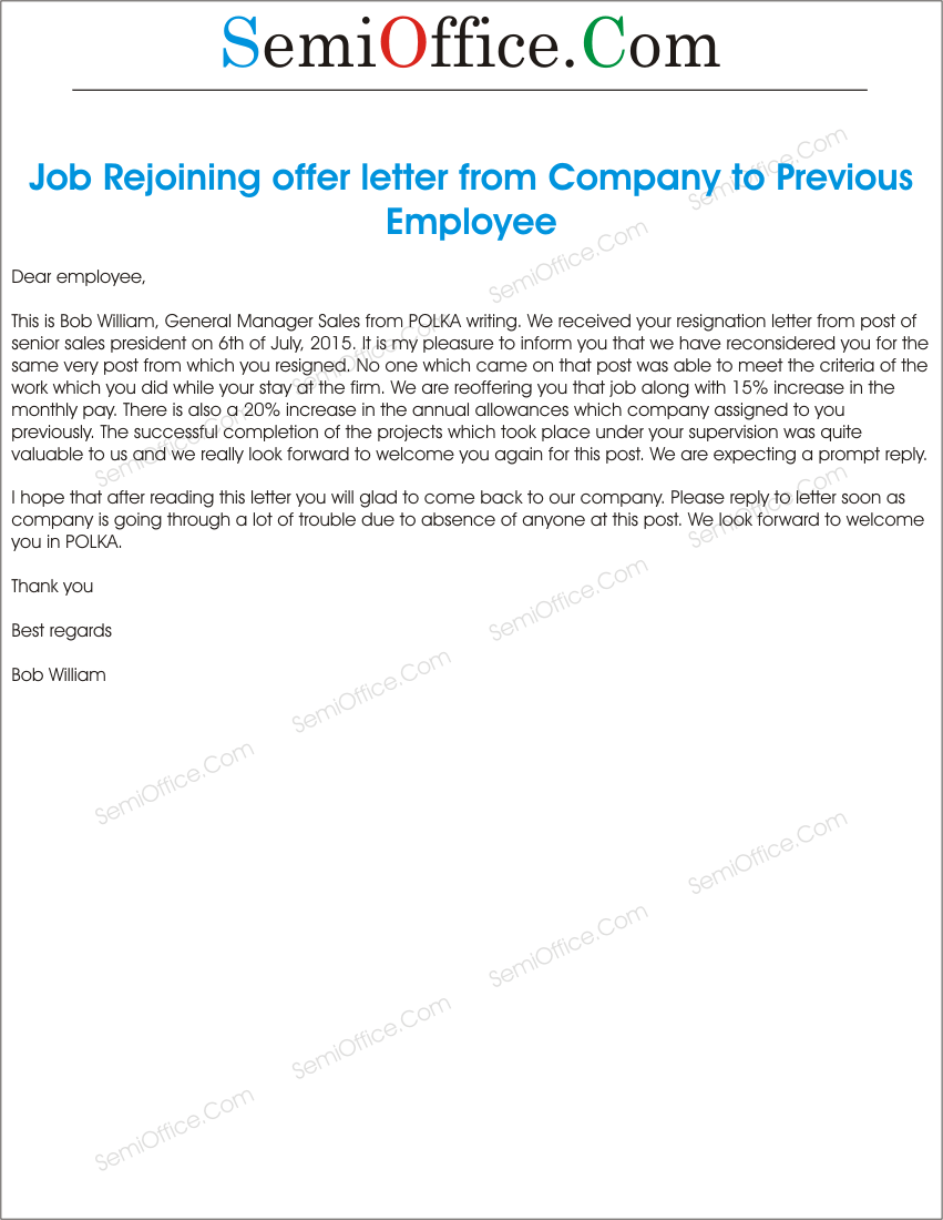 Is An Offer Letter A Contract.Sample Job Rejoining Offer Letter Of Old Employee