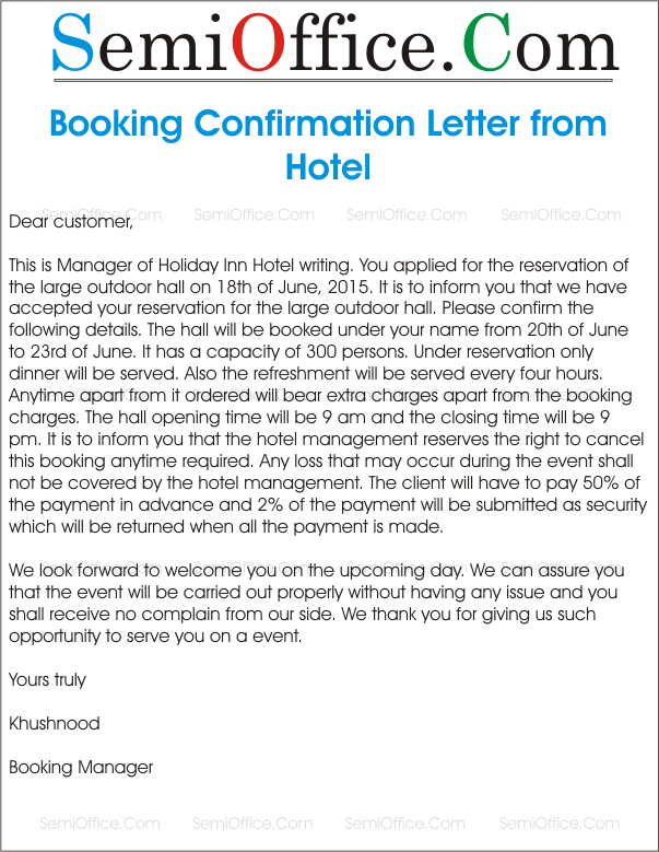 Sample letter for booking confirmation sampleletterforbookingconfirmationgssl1 spiritdancerdesigns Gallery