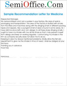 Sample Request Letter for Medicines