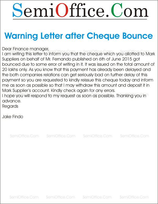 dishonoured cheque letter before action