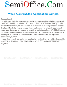 Wash Assistant Job Application Sample