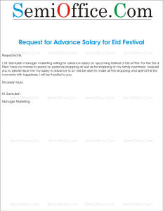 Application for Advance Salary Due to Eid