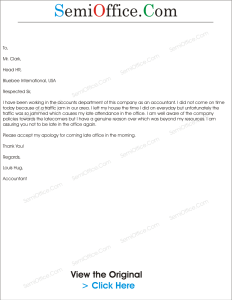 Application for Late Coming in Office Sample