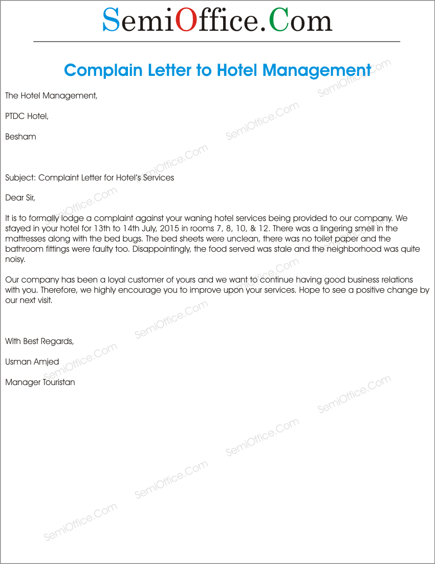 hotel complaint email