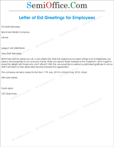 Eid Greetings Letter from Company to Staff Members