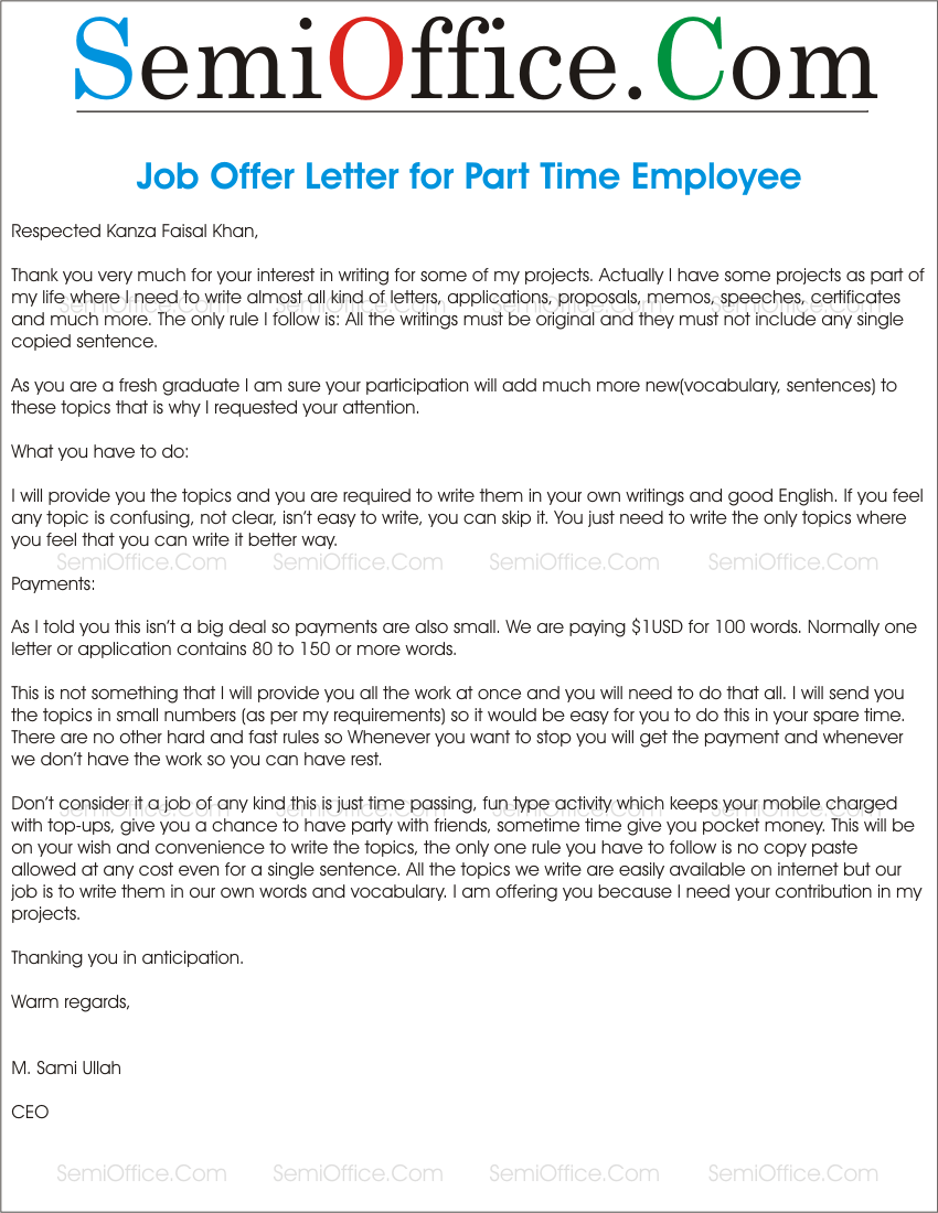 letters offering employment