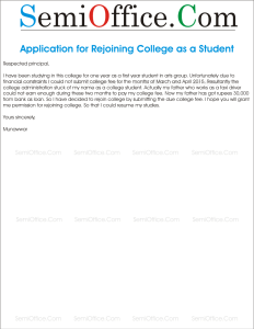 Letter to Director for Rejoin College as a Student
