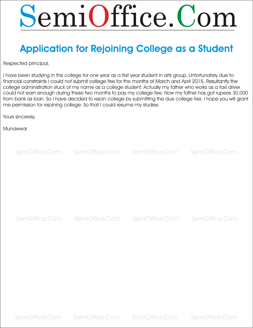 Letter to director for rejoin college as a student application letter to rejoin the college as student spiritdancerdesigns