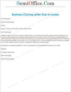 Office Closing Due to Business Loss Letter Format