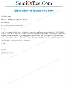 Request Letter for Sponsorship Form