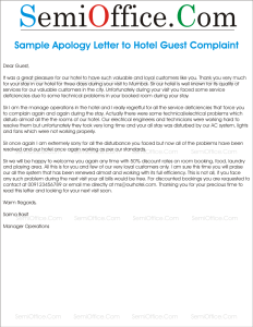 Sample Apology Letter to Hotel Guest Complaint