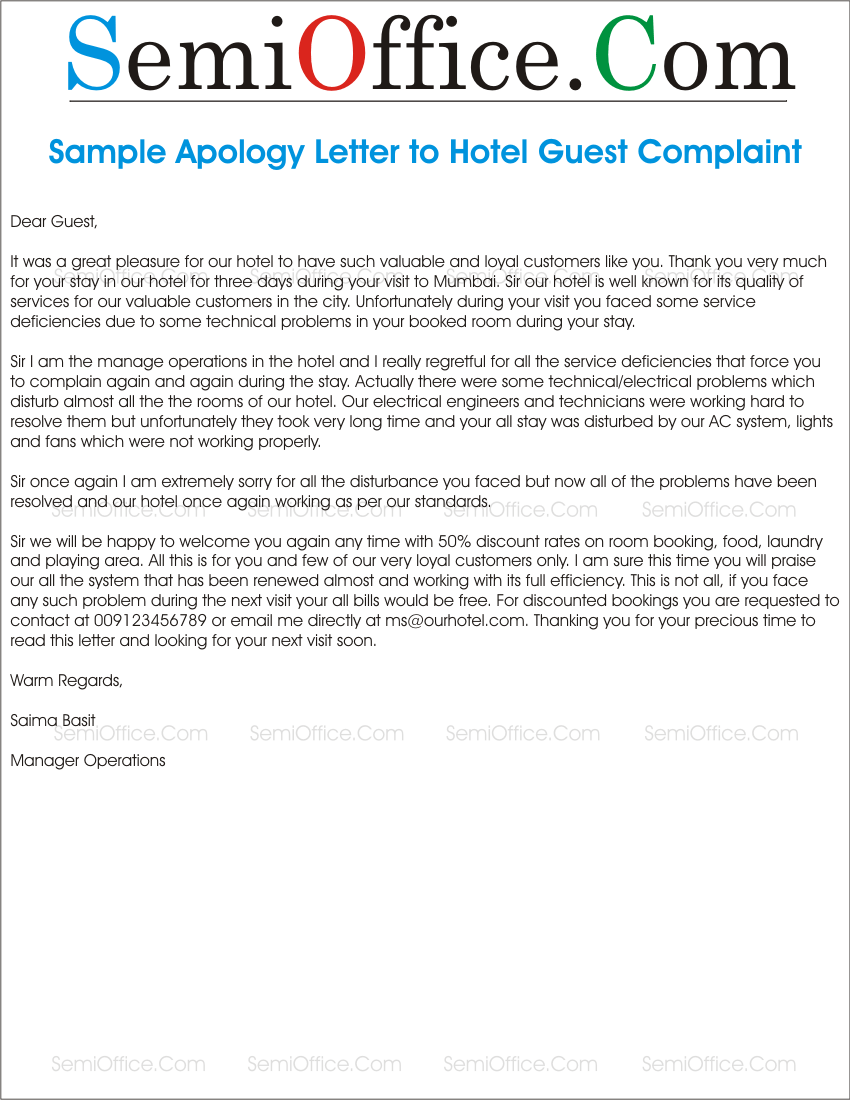 apology letter to guest complaint in hotel