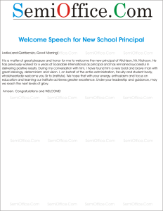 Welcome Address for New Principal