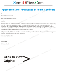 Application for Issuance of Health Certificate