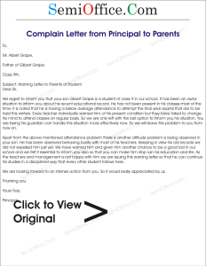 Complaint Letter to Parents from School Principal